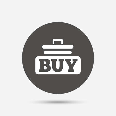 cart button: Buy sign icon. Online buying cart button. Gray circle button with icon. Vector