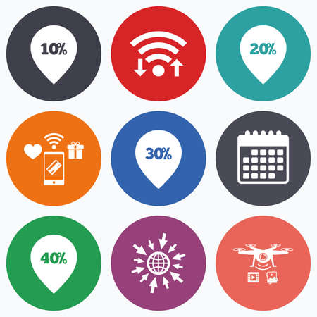 20 30: Wifi, mobile payments and drones icons. Sale pointer tag icons. Discount special offer symbols. 10%, 20%, 30% and 40% percent discount signs. Calendar symbol.
