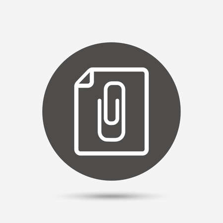appendix: File annex icon. Paper clip symbol. Attach symbol. Gray circle button with icon. Vector