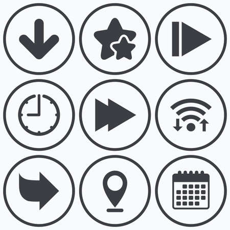 arrowhead: Clock, wifi and stars icons. Arrow icons. Next navigation arrowhead signs. Direction symbols. Calendar symbol.