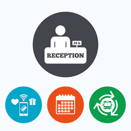 reception table: Reception sign icon. 24 hours Hotel registration table with administrator symbol. Mobile payments, calendar and wifi icons. Bus shuttle.