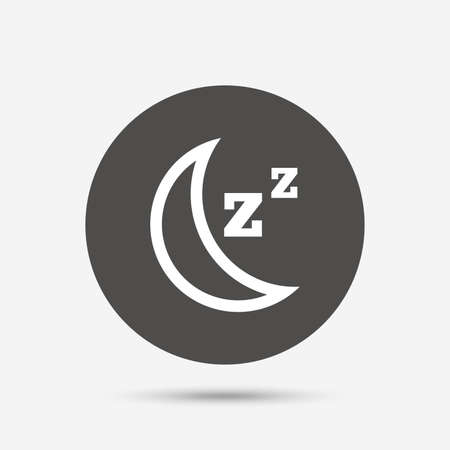 standby: Sleep sign icon. Moon with zzz button. Standby. Gray circle button with icon. Vector