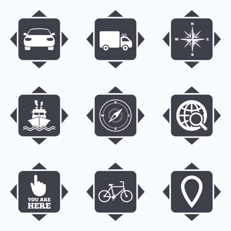 windrose: Icons with direction arrows. Navigation, gps icons. Windrose, compass and map pointer signs. Bicycle, ship and car symbols. Square buttons.