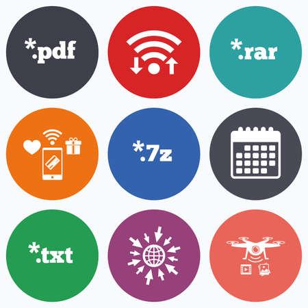 rar: Wifi, mobile payments and drones icons. Document icons. File extensions symbols. PDF, RAR, 7z and TXT signs. Calendar symbol. Illustration