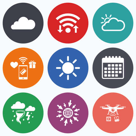 gale: Wifi, mobile payments and drones icons. Weather icons. Cloud and sun signs. Storm or thunderstorm with lightning symbol. Gale hurricane. Calendar symbol.