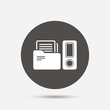 accounting logo: Document folder sign. Accounting binder symbol. Bookkeeping management. Gray circle button with icon. Vector Illustration