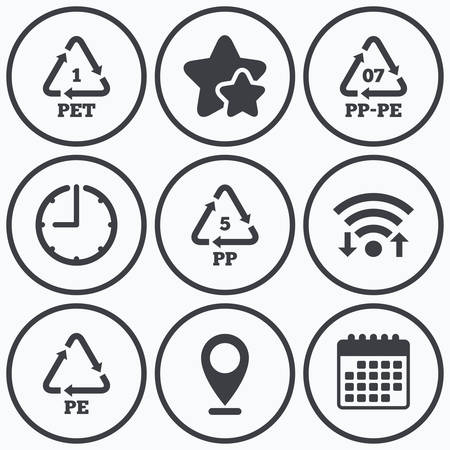 pp: Clock, wifi and stars icons. PET 1, PP-pe 07, PP 5 and PE icons. High-density Polyethylene terephthalate sign. Recycling symbol. Calendar symbol.