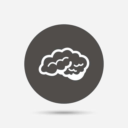 intelligent: Brain with cerebellum sign icon. Human intelligent smart mind. Gray circle button with icon. Vector