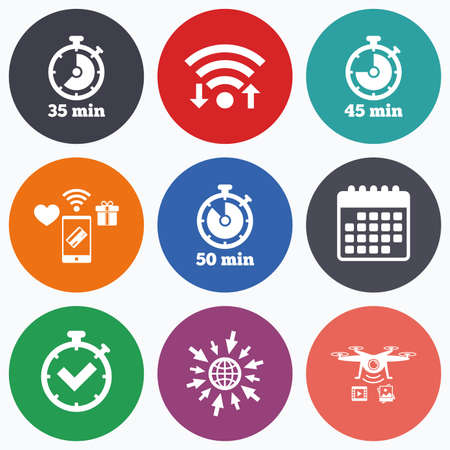 45 50: Wifi, mobile payments and drones icons. Timer icons. 35, 45 and 50 minutes stopwatch symbols. Check or Tick mark. Calendar symbol.