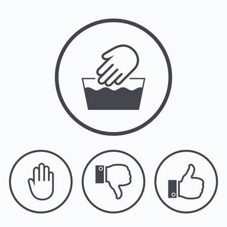 Hand-Ikonen. Like und Abneigung Daumen Symbole. Nicht maschinenwaschbares Schild. Stoppen Sie keine Eingabe. Symbole in Kreisen.