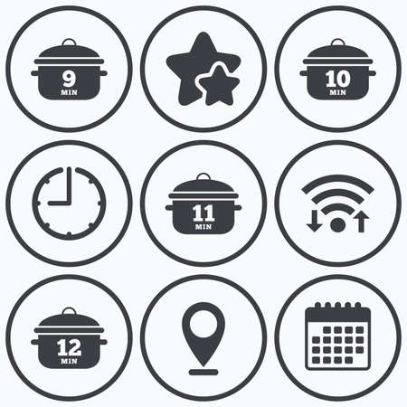 10 12: Clock, wifi and stars icons. Cooking pan icons. Boil 9, 10, 11 and 12 minutes signs. Stew food symbol. Calendar symbol.