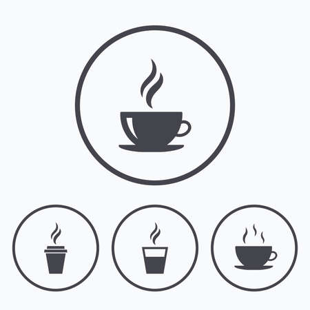takeout: Coffee cup icon. Hot drinks glasses symbols. Take away or take-out tea beverage signs. Icons in circles. Illustration