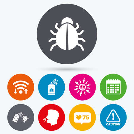 insanitary: Wifi, like counter and calendar icons. Bug disinfection icons. Caution attention symbol. Insect fumigation spray sign. Human talk, go to web. Illustration