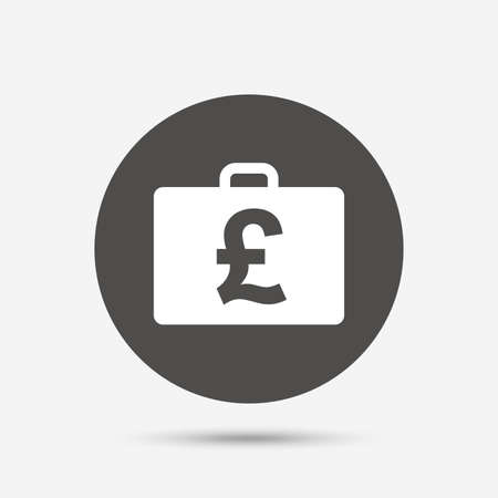 diplomat: Case with Pounds GBP sign icon. Briefcase button. Gray circle button with icon. Vector Illustration