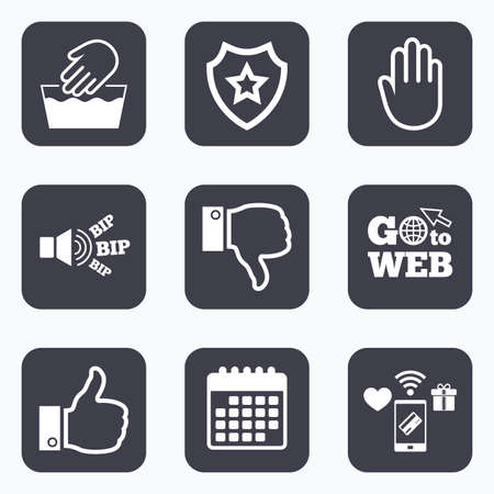 washable: Mobile payments, wifi and calendar icons. Hand icons. Like and dislike thumb up symbols. Not machine washable sign. Stop no entry. Go to web symbol. Illustration
