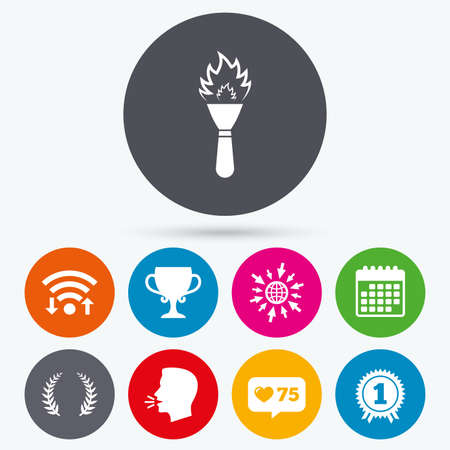 flame like: Wifi, like counter and calendar icons. First place award cup icons. Laurel wreath sign. Torch fire flame symbol. Prize for winner. Human talk, go to web.