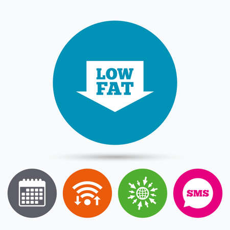lowfat: Wifi, Sms and calendar icons. Low fat sign icon. Salt, sugar food symbol with arrow. Go to web globe.
