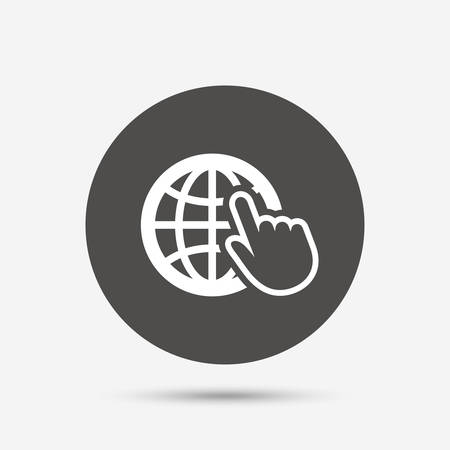 world wide web: Internet sign icon. World wide web symbol. Cursor pointer. Gray circle button with icon. Vector