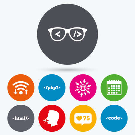 coder: Wifi, like counter and calendar icons. Programmer coder glasses icon. HTML markup language and PHP programming language sign symbols. Human talk, go to web.