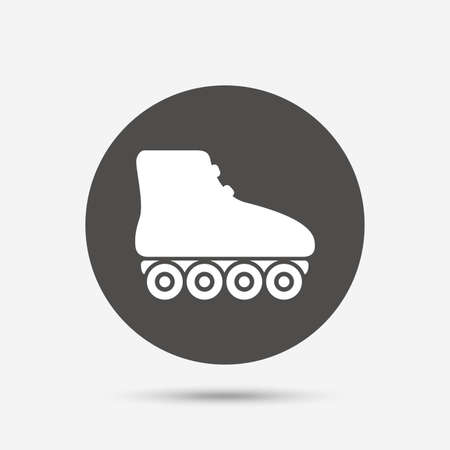 rollerblades: Roller skates sign icon. Rollerblades symbol. Gray circle button with icon. Vector