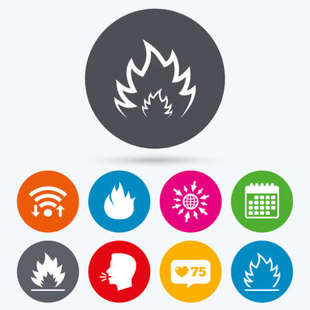 flame like: Wifi, like counter and calendar icons. Fire flame icons. Heat symbols. Inflammable signs. Human talk, go to web. Illustration