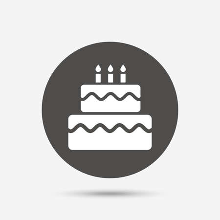 vector button: Birthday cake sign icon. Cake with burning candles symbol. Gray circle button with icon. Vector Illustration