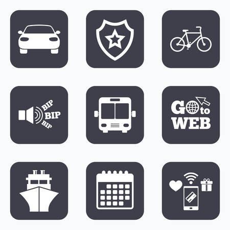 button icons: Mobile payments, wifi and calendar icons. Transport icons. Car, Bicycle, Public bus and Ship signs. Shipping delivery symbol. Family vehicle sign. Go to web symbol.