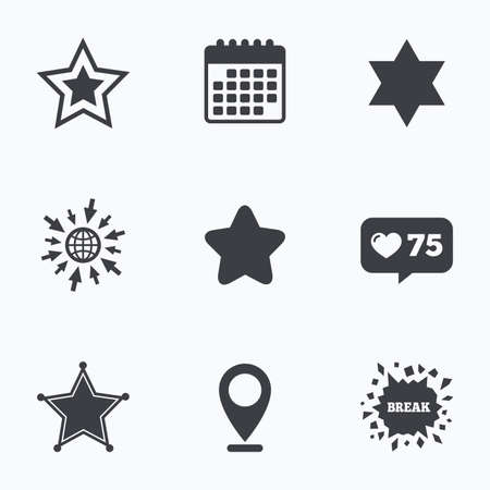 zion: Calendar, like counter and go to web icons. Star of David icons. Sheriff police sign. Symbol of Israel. Location pointer.