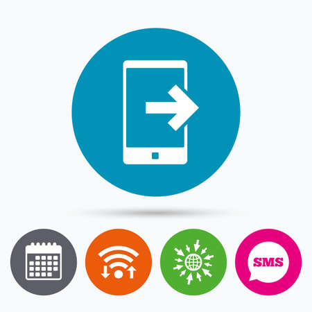 outcoming: Wifi, Sms and calendar icons. Outcoming call sign icon. Smartphone symbol. Go to web globe.