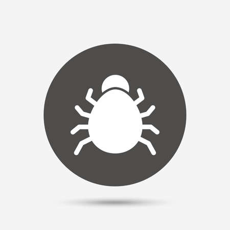 disinfection: Bug sign icon. Virus symbol. Software bug error. Disinfection. Gray circle button with icon. Vector Illustration