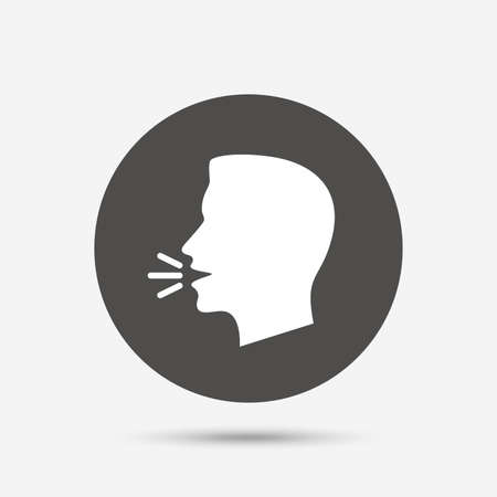 Parlez ou de parler icône. Fort symbole de bruit. signe talking humain. bouton cercle gris avec l'icône. Vecteur