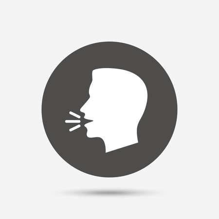 Sprechen oder das Symbol sprechen. Laute Geräusche Symbol. Mensch, der spricht Zeichen. Grauer Kreis-Schaltfläche mit Symbol. Vektor