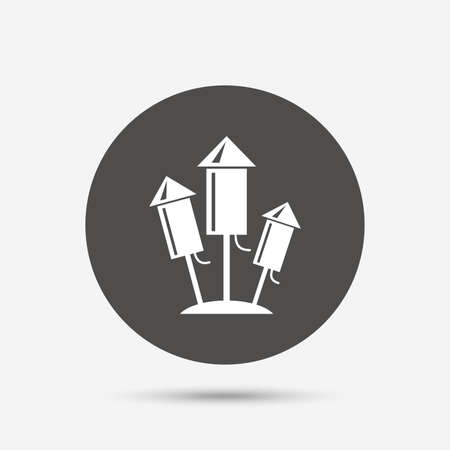 explosive sign: Fireworks rockets sign icon. Explosive pyrotechnic device symbol. Gray circle button with icon. Vector