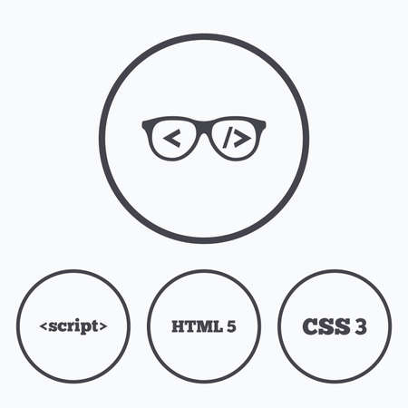 html5: Programmer coder glasses icon. HTML5 markup language and CSS3 cascading style sheets sign symbols. Icons in circles.