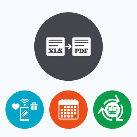 xls: Export XLS to PDF icon. File document symbol. Mobile payments, calendar and wifi icons. Bus shuttle.