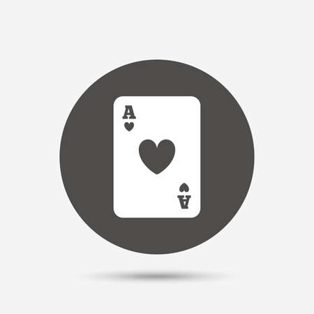 ace of hearts: Casino sign icon. Playing card symbol. Ace of hearts. Gray circle button with icon. Vector Illustration