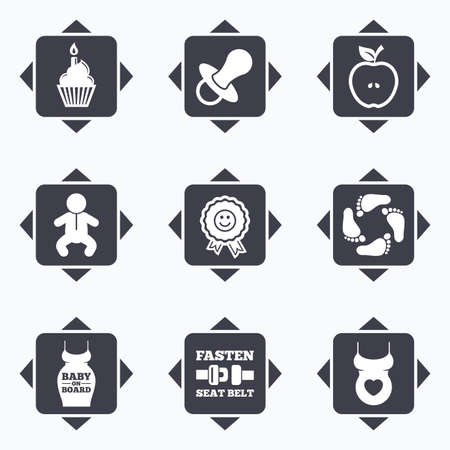 newborn footprint: Icons with direction arrows. Pregnancy, maternity and baby care icons. Apple, award and pacifier signs. Footprint, birthday cake and newborn symbols. Square buttons.