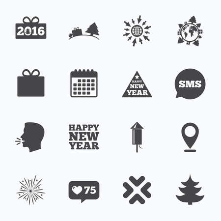 new year counter: Calendar, go to web and like counter. Christmas, new year icons. Gift box, fireworks signs. Santa bag, salut and rocket symbols. Sms speech bubble, talk symbols.