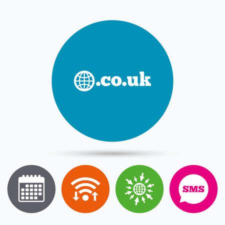 subdomain: Wifi, Sms and calendar icons. Domain CO.UK sign icon. UK internet subdomain symbol with globe. Go to web globe. Illustration