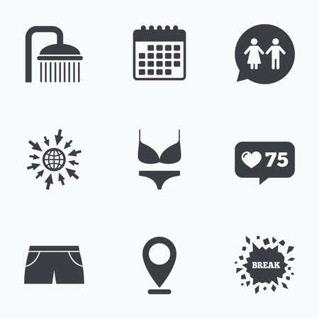 short break: Calendar, like counter and go to web icons. Swimming pool icons. Shower water drops and swimwear symbols. WC Toilet speech bubble sign. Trunks and women underwear. Location pointer.