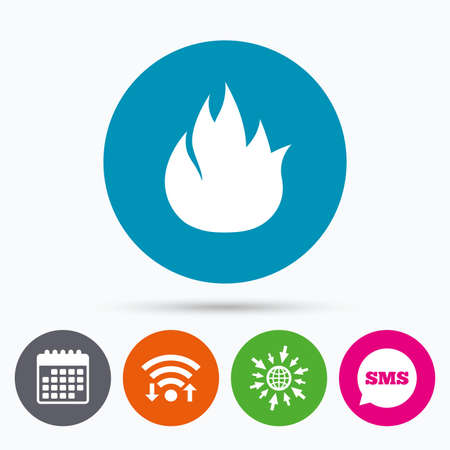 escape: Wifi, Sms and calendar icons. Fire flame sign icon. Fire symbol. Stop fire. Escape from fire. Go to web globe.