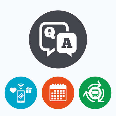 qa: Question answer sign icon. Q&A symbol. Mobile payments, calendar and wifi icons. Bus shuttle.