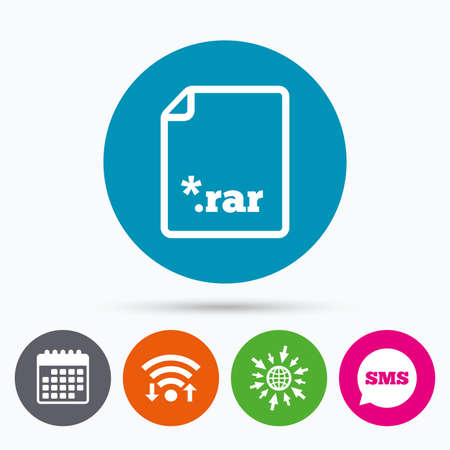 rar: Wifi, Sms and calendar icons. Archive file icon. Download compressed file button. RAR zipped file extension symbol. Go to web globe. Illustration
