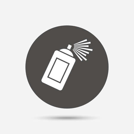 spray paint can: Graffiti spray can sign icon. Aerosol paint symbol. Gray circle button with icon. Vector Illustration