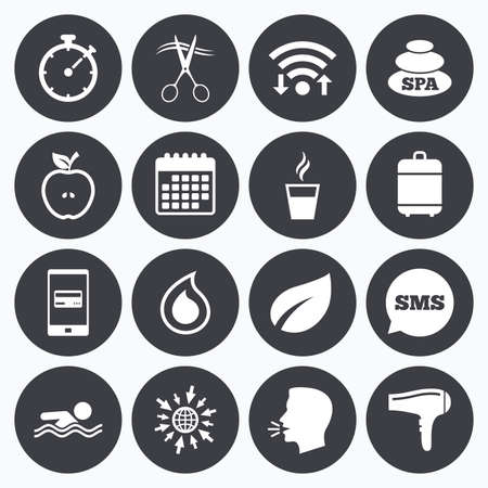hot stones: Wifi, calendar and mobile payments. Spa, hairdressing icons. Swimming pool sign. Water drop, scissors and hairdryer symbols. Sms speech bubble, go to web symbols.