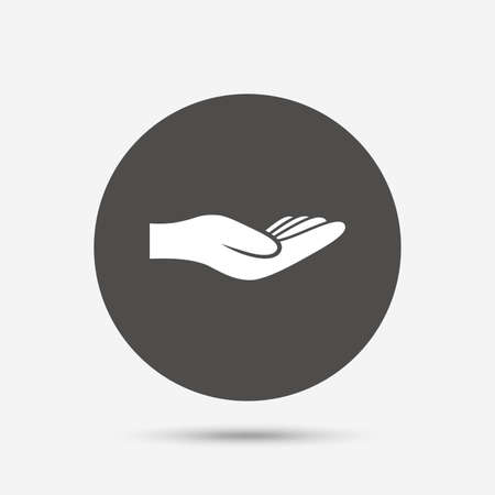 endowment: Donation hand sign icon. Charity or endowment symbol. Human helping hand palm. Gray circle button with icon. Vector