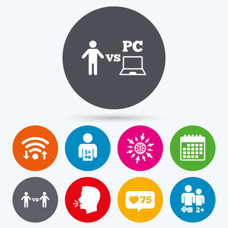 gamer: Wifi, like counter and calendar icons. Gamer icons. Board and PC games players signs. Player vs PC symbol. Human talk, go to web. Illustration