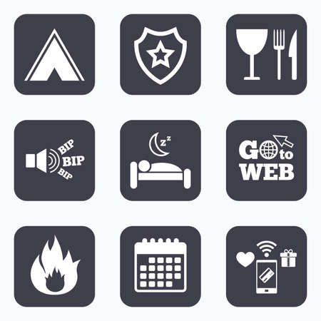 breakfast in bed: Mobile payments, wifi and calendar icons. Food, sleep, camping tent and fire icons. Knife, fork and wineglass. Hotel or bed and breakfast. Road signs. Go to web symbol.