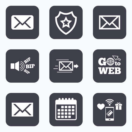 webmail: Mobile payments, wifi and calendar icons. Mail envelope icons. Message delivery symbol. Post office letter signs. Go to web symbol.