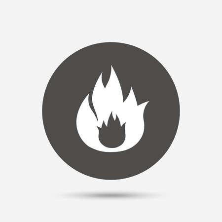 fire escape: Fire flame sign icon. Fire symbol. Stop fire. Escape from fire. Gray circle button with icon. Vector Illustration